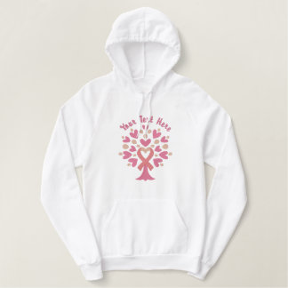 Pink Ribbon Tree Embroidered Hooded Sweatshirt