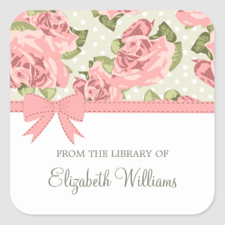 Pink Ribbon Vintage Roses Square Sticker