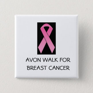 pink ribbon walk for breast cancer 2 inch square button