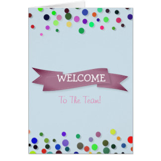 Pink Ribbon with White Border Polkadots Welcome Card