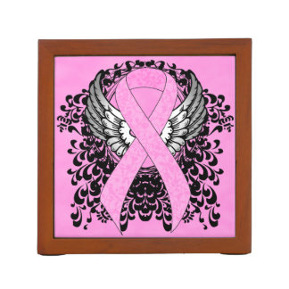 Pink Ribbon with Wings Desk Organizer