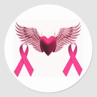 Pink Ribbons & Heart of Love & Support Round Sticker