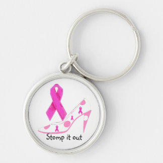 Pink Ribbons Stomp Out Breast Cancer Silver-Colored Round Keychain