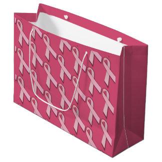 Pink Ribbons Tiled Pattern Large Gift Bag