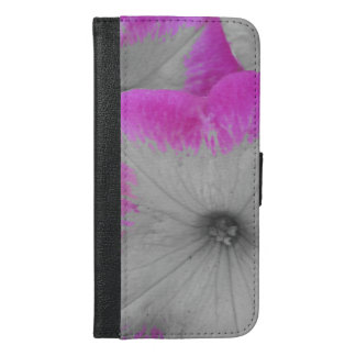Pink Rimmed black and white petunias iPhone 6/6s Plus Wallet Case