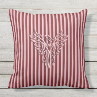 Pink rising phoenix with pink and maroon bands throw pillow