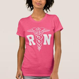 Pink RN nurse t shirt with caduceus symbol