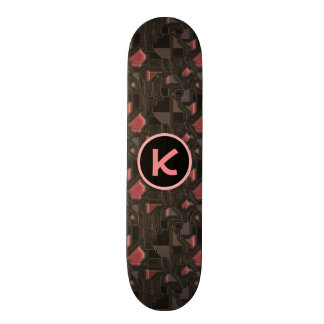 Pink Robotic Cyborg w/Monogram Custom Skateboard