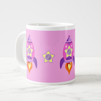 Pink Rocket Ships Large Coffee Mug