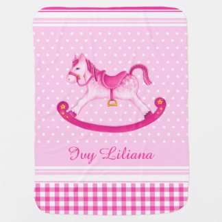 Pink rocking horse art name baby blanket