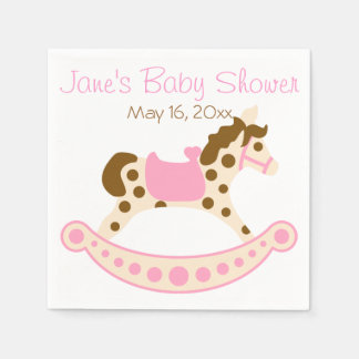 Pink Rocking Horse Baby Shower Paper Napkin