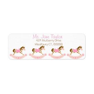 Pink Rocking Horse Baby Shower Return Address Label
