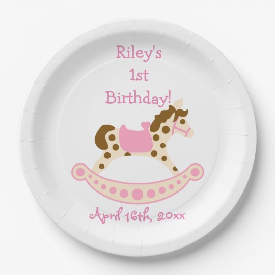Pink Rocking Horse Birthday 9 Inch Paper Plate