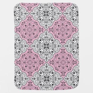 Pink Rococo Pattern Flourish Baby Blanket