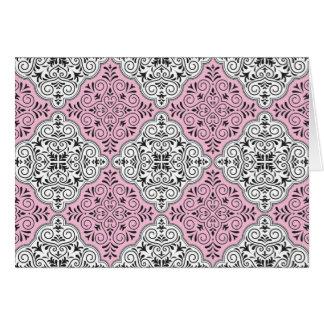 Pink Rococo Pattern Flourish Card