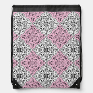 Pink Rococo Pattern Flourish Drawstring Bag