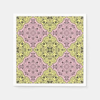 Pink Rococo Pattern Flourish Paper Napkins