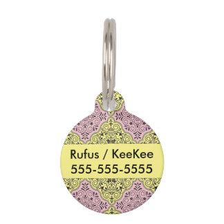 Pink Rococo Pattern Flourish Pet Tag