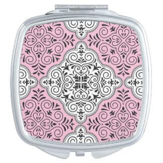 Pink Rococo Pattern Flourish Vanity Mirrors