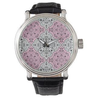 Pink Rococo Pattern Flourish Watch