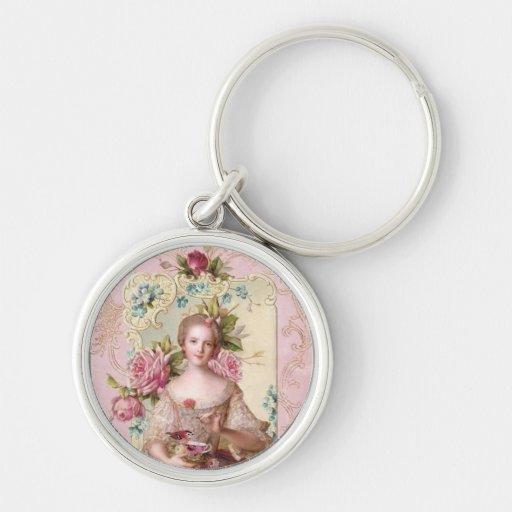 Pink Rococo Round Keychain