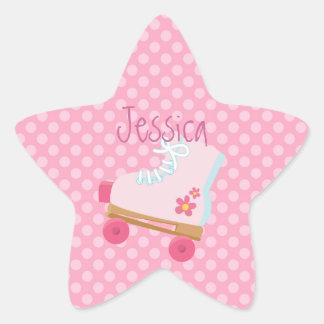 Pink Rollerskates Star Stickers