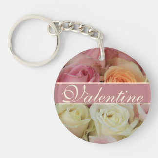 Pink romantic roses keychain