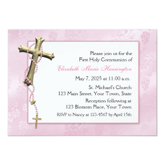 Pink Rosary Beads, Cross, Religious Card