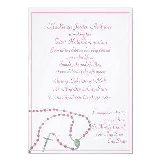 Pink Rosary Communion Invitation