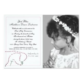 "Pink Rosary Communion Photo 5"" X 7"" Invitation Card"