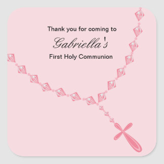 Pink Rosary Girls Communion sticker