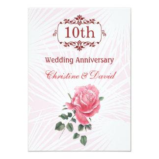 Pink rose 10th Wedding Anniversary Invitation