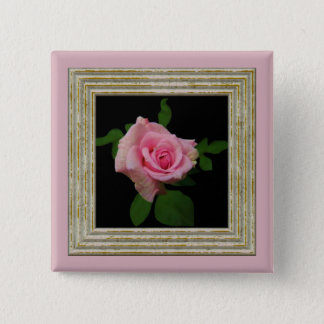Pink Rose 2 Inch Square Button