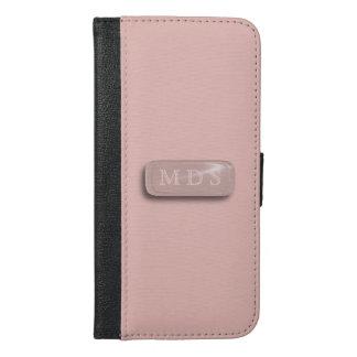 Pink Rose 3D Monogram iPhone 6/6s Plus Wallet Case