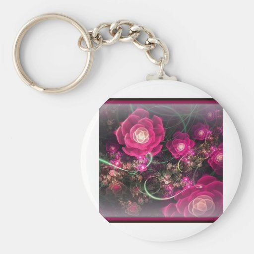 Pink Rose Abstract Key Chain