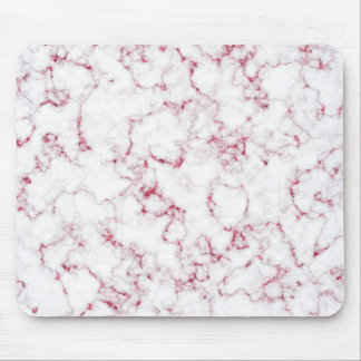 Pink Rose Abstract White Gray Marble Stone Glam Mouse Pad