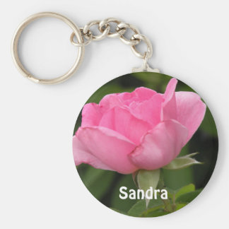 Pink Rose Add your Name Keychain