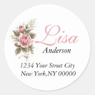 Pink Rose Address Sticker