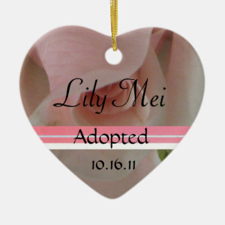 Pink Rose Adoption Announcement Ornament