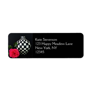 Pink Rose and a Checkered Vase Return Address Label