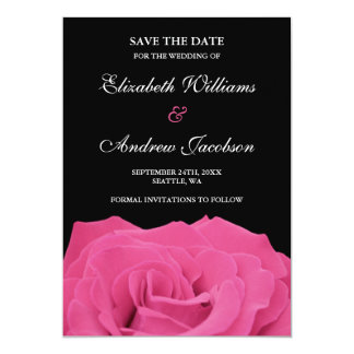 Pink Rose and Black Wedding Save the Date 5x7 Paper Invitation Card