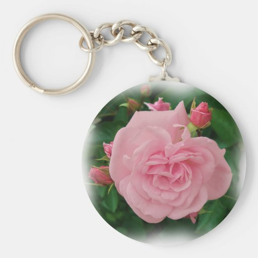 Pink rose and buds Keychain
