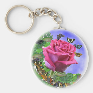 Pink Rose and Butterflies Basic Round Button Keychain
