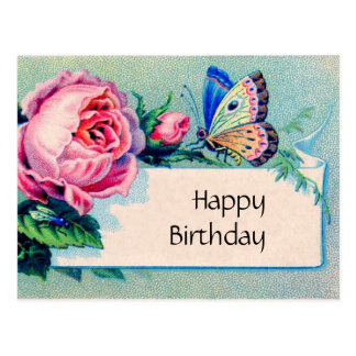 Pink rose and butterfly: Happy Birthday Postcard
