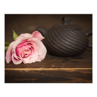Pink Rose and Clay Teapot Art Photo