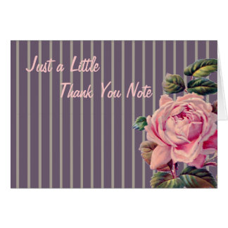 Pink Rose and Dark Stripes Thank You Greeting Cards