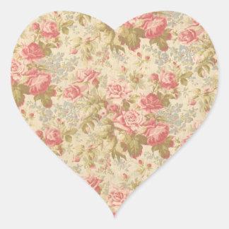 Pink Rose and Green Leaf Vintage Envelope Seal Heart Sticker