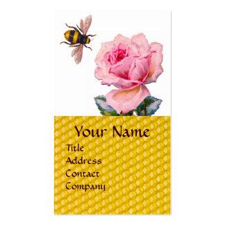 PINK ROSE AND HONEY BEE BEEKEEPER MONOGRAM BUSINESS CARD