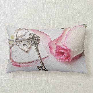 Pink Rose and Key Lumbar Pillow