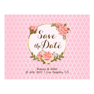 Pink Rose and Net Pattern Wedding Save The Date Postcard